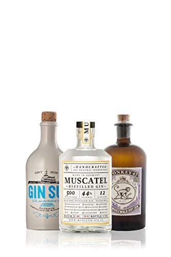GIN Probierset GIN-TRIO | 3 x exzellenter Gin aus Deutschland | Monkey 47, Gin Sul und Muscatel Distilled