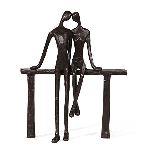 Danya B. Romantic Couple Reclining on Bench Bronze Sculpture