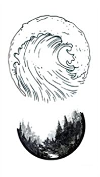 Set of 5 Waterproof Temporary Fake Tattoo Stickers Grey Ocean Wave Forest Design