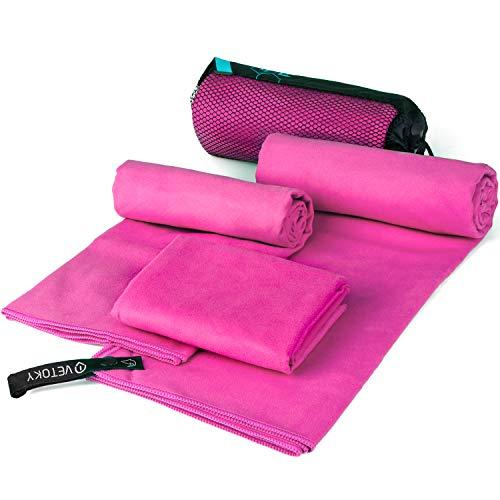 vetoky Mikrofaser Handtücher, Schnelltrocknend Mikrofaser Handtuch (3 Größen und 2 Farben) Ultra Saugfähig Ultraleicht Antibakteriell für Sauna, Fitness, Sport Pink 40x80cm + 50x100cm