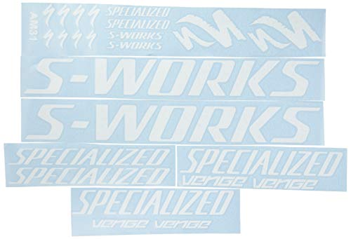 ECOSHIRT OC-J9OC-28O6 Aufkleber Rahmen Sworks S-Works Venge Pro Vias Am31 Sticker Decals Sticker Bike BTT MTB Cycle weiß