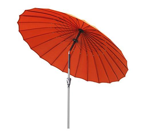 Angel Living Parasol de Jardin en Acier et Aluminium de 250 cm avec Manivelle, Parasol Inclinable avec Un Mât de Diamètre de 38 mm, pour Terrasse et Patio (Terre Cuite)