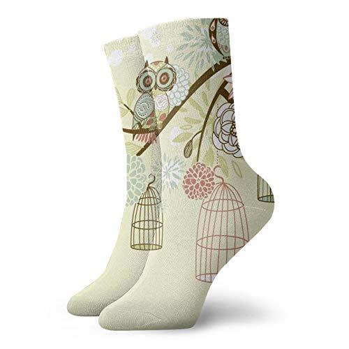 Socken mit Eulen-Motiv, Unisex, atmungsaktiv, weich, Quarter-Socken, lustige Socken für Herren und Damen, Sportsocken für medizinische Zwecke