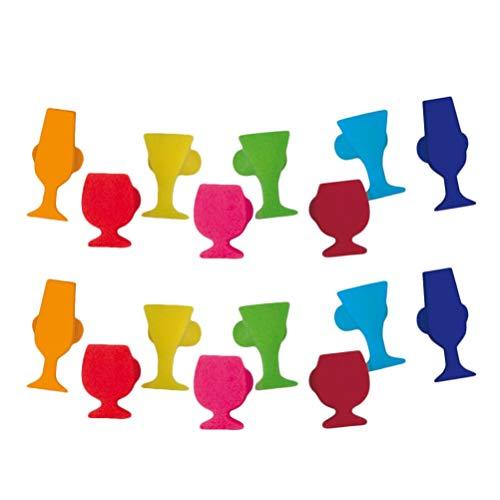 NUOBESTY 16 marcadores de silicona para copas de vino, copas de champán con forma de copa de champán y abalorios decorativos para fiestas (colores variados)