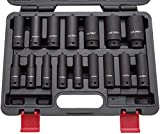 US PRO B1340 - Juego de llaves de vaso para destornillador de impacto (1/2 pulgada, 10-32 mm, 16 unidades)