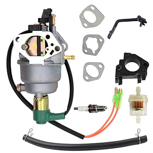 SAKITAM Manual Choke Carburetor Carb with Gaskets Fuel Filter Spark Plug Kit for Champion Generator 5500 6875 with huayi p27-2-h