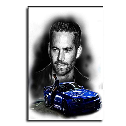 HSFD Fast and Furious Paul Walker and R34 Canvas Art Poster and Wall Art Picture Print Modern Family Bedroom Decor Posters 12×18inch(30×45cm)