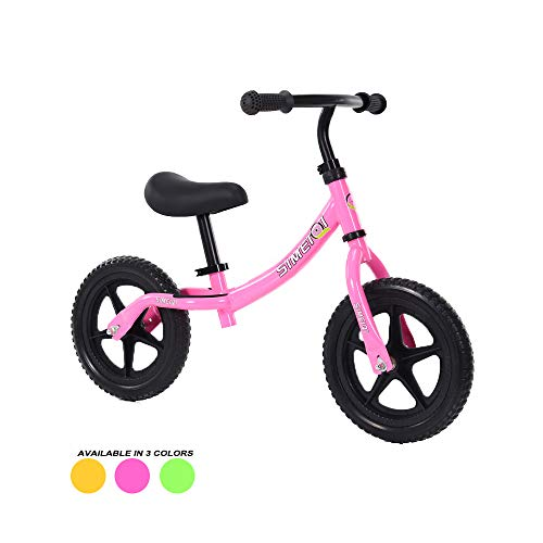 Lightweight Sport Balance Bike for Toddlers and Kids Ages 2 3 4 5 Years Old No Pedal Walking Balance Training Bicycle Adjustable Seat and Handlebar Height (Pink)