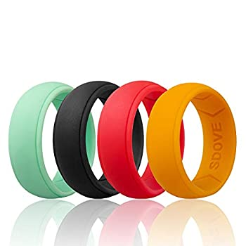 Sdove Silicone Wedding Ring For Men,Step Edge Rubber Wedding Band-4Pack