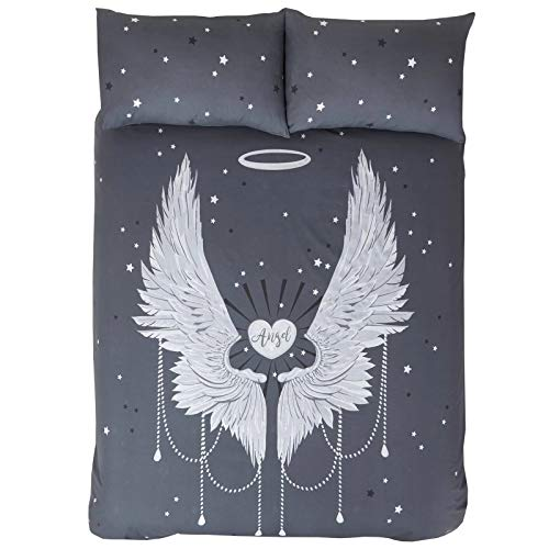 RAVALI Angel Wing Stars Teen Metallic Printed Quilt Cover Duvet Bedding Set Bed Linen (Grey, Single)