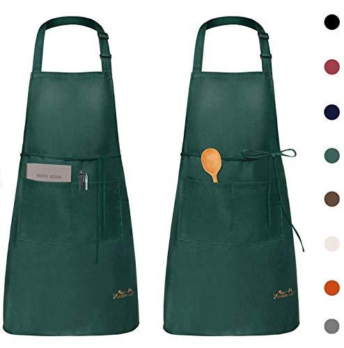 Viedouce 2 Piezas Delantales Impermeables Ajustables del Cocinero con Bolsillo Cocina Delantale de Cocina para Mujeres Hombres,Delantal Chefs Cocina para Cocinar/Hornear (Verde)
