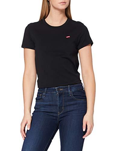 Levi\'s Perfect Tee, Camiseta para Mujer, Negro (Caviar 2 0008), X-Small