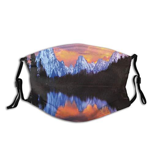 FULIYA Mascarillas faciales lavables reutilizables para mujeres y hombres, lago de serpiente en el parque nacional Grand Teton, vista fascinante al atardecer con reflejos, tamaño mediano unisex adulto
