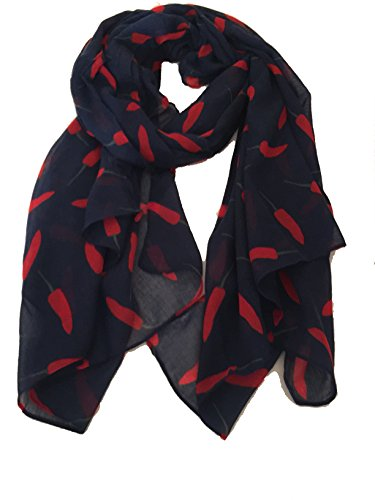 Marineblau mit roten mit roten kleinen Chili-Pfeffer-Entwurfs-Schal- Navy blue with red small chilli pepper design scarf