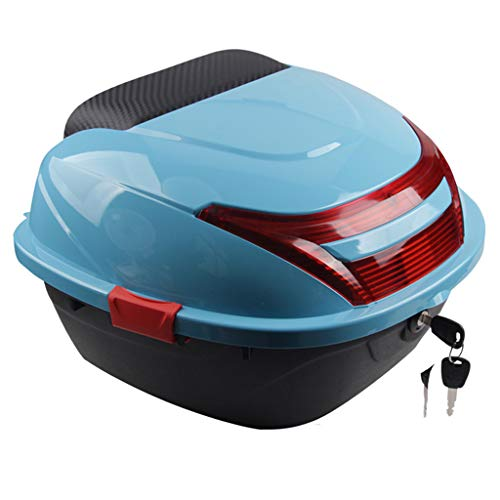 RTYUIO Motorcycle Back Top Box Lock Motorbike Luggage Storage with Backrest and Buckles on Both Sides - Multiple Colours
