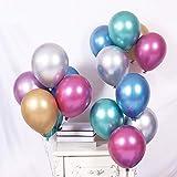 50 Stück Luftballons Metallic,Bunt Verchromte Helium Ballons 6 Metallischen Farben Metallfarbe Dekoration für Vintage Jugendweihe Junge Geburtstag JGA Party Deko (Gold Silber Blau Grün Rosa Lila) - 7