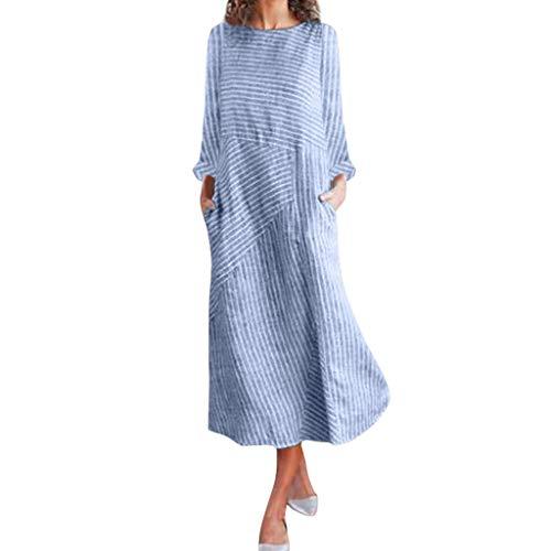 Dasongff Damen Gestreift Patchwork Leinenkleid Rundhals Armellos Freizeit Kleider Vintage Baggy Etuikleid Elegante Lose Strandkleider Festkleider Swing Kleid Sommerkleid (XXL, L-Blau)