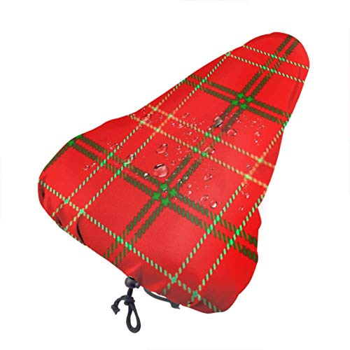 Enoqunt Bike Seat Cover Tartan Plaid Red Green Line Fabric Protective Sun and Rain Resistant Bike Saddle Cushion for Women Men