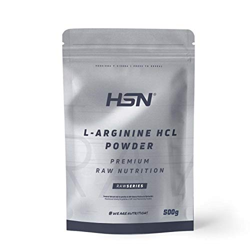 Arginina HCL en Polvo de HSN | Fórmula para Liberar Óxido Nítrico | Suplemento Deportivo para el Rendimiento | Vegano, Sin Lactosa, Sin Gluten, Sin Sabor, 500gr