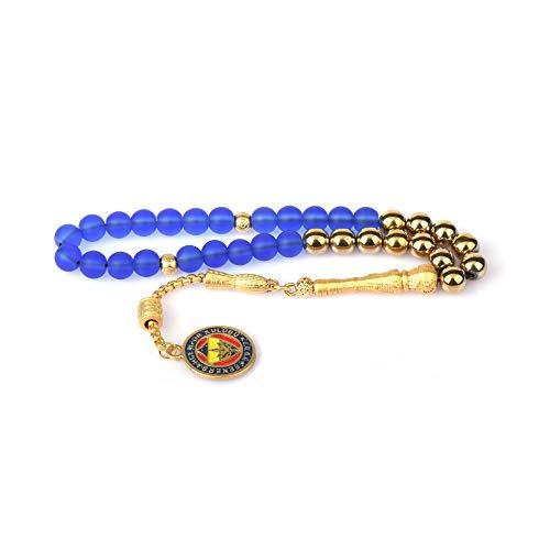 Remi Bijou Gebetskette - Tesbih 33 Perlen Fenerbahce FB für Fußballfans Blau Gold Farbe