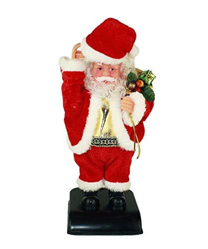 HAAC Babbo Natale cantante e danzante con cappello, figura di Babbo Natale, 28 cm, per Natale