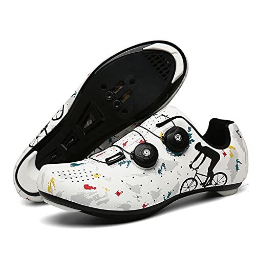 DSMGLSBB Zapatillas De Ciclismo para Hombre, Zapatos De Ciclismo De Bicicleta De Carretera Transpirable, Calzado SPD Bike Shoes Spin Shoestring, Compatible con Look SPD SPD-SL,Road,39