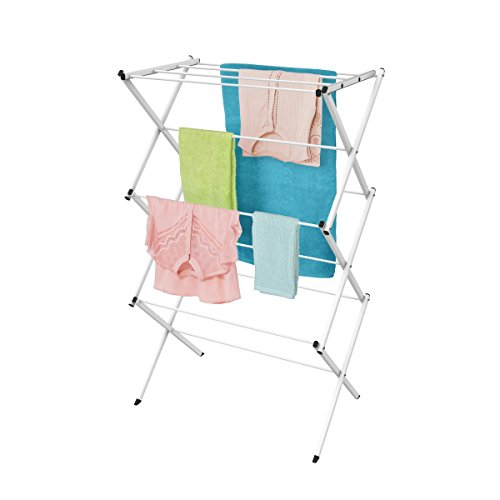 """Lavish Home Clothes Rack-24ft Space-Collapsible and Compact for Indoor/Outdoor Use-Portable Stand for Hanging, Air-Drying Laundry, (L) 14.125""""x(W) 28.75"""" x (H) 41.75"""", White"""