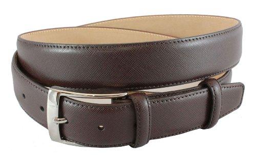 BRUCLE ceinture élegant homme en cuir Saffiano, marron