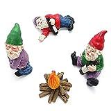 Marjory Miniatur Garten GNOME Figuren Ornamente, Fairy Garden Statue Zubehör GNOME-Drunk GNOME Kit, Feuer, Little Goblin Statue Modell Desktop-Dekoration -4PCS
