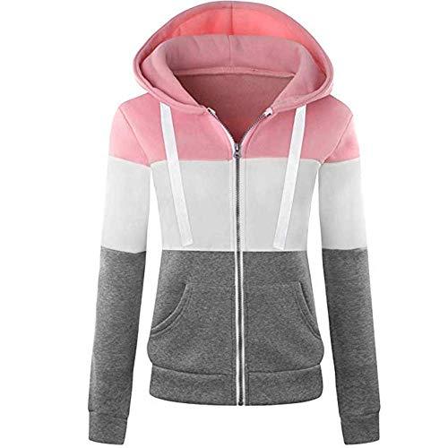 Newbestyle Jacke Damen Sweatjacke Hoodie Sweatshirtjacke Pullover Oberteile Kapuzenpullover,Rosa,XL