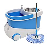 MUMUWUSG Bodenwischer Spin-Mopp, Mopp und Eimer-Set, Home Mopping Artefakt für Faule Menschen, mit Rädern, Reinigungswerkzeug Drehbarem Wischmopp (Color : Blue)