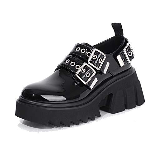 ARQA Women's Platforms Shoes Goth Black Mary Jane Shoe Buckle Platform Chunky High Heels Punk Gothic Pumps