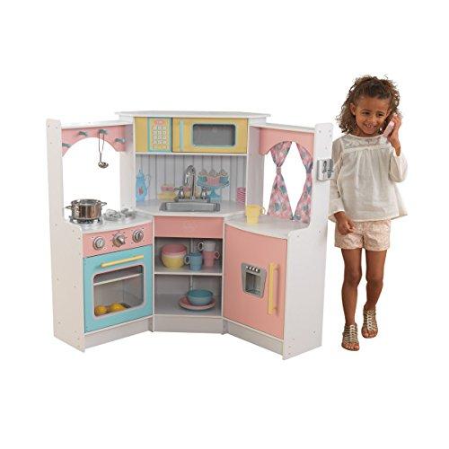 KidKraft 53368 Cocina de esquina de juguete Deluxe de madera para niños con teléfono de juguete incluido - Color pastel