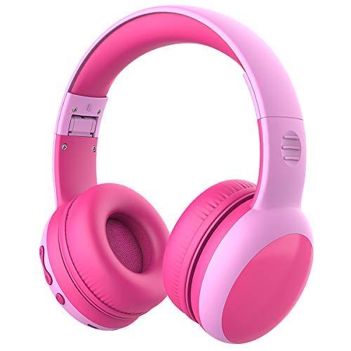 Cuffie Bluetooth per Bambini, Limitatore audio a 85 dB, Bambini Cuffie Senza Fili Over Ear, Stereo Cuffie per Bambini con Microfono, Cuffie Pieghevoli per Ragazzi e Ragazze - Rosa