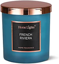 HomeLights Luxury Scented Candle, 7.19 oz, Natural Soy Wax, Home Fragrance Decor Gift, French Riviera, Medium Jar
