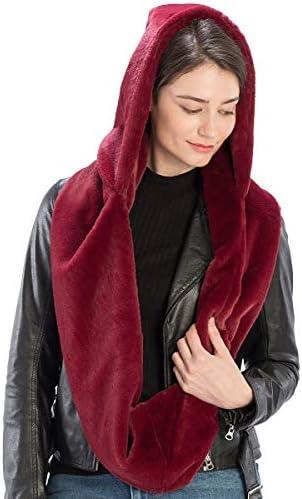 Scarf Hat Women Winter Super Soft Warm Faux Fur Hooded Infinity Scarf Hat
