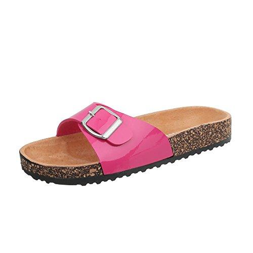Ital-Design Pantoletten Damen-Schuhe Leichte Sandalen Sandaletten Pink, Gr 39, Ku-6-