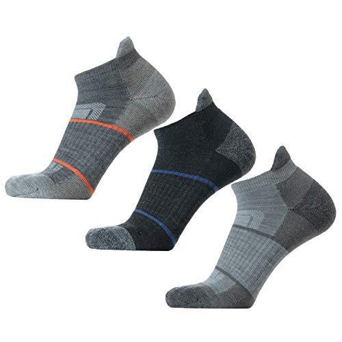 SOLAX 72% Men's Merino Wool Hiking Socks, Outdoor Trail ,Trekking, Cushioned, Breathable Low Cut Ankle Socks 3 Pack (L,Asst138)