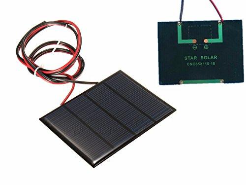 Bluelover 12V 1,5 W Mini Panel Solar Pequeño Módulo De Células De Epoxy Cargador con 1 M Alambre De Soldadura