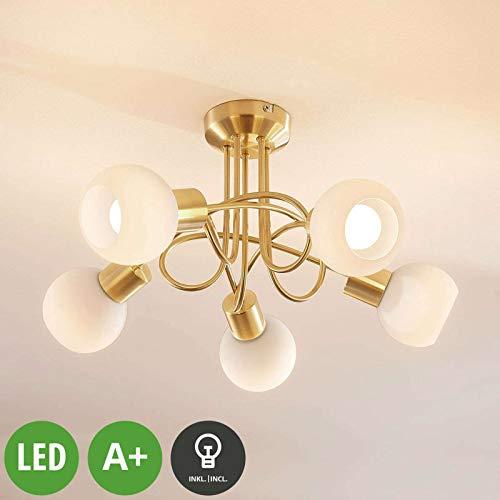 Lampenwelt LED Deckenleuchte 'Elaina' in Gold/Messing aus Glas u.a. für Wohnzimmer & Esszimmer (5 flammig, E14, A+, inkl. Leuchtmittel) - Lampe, LED-Deckenlampe, Deckenlampe, Wohnzimmerlampe