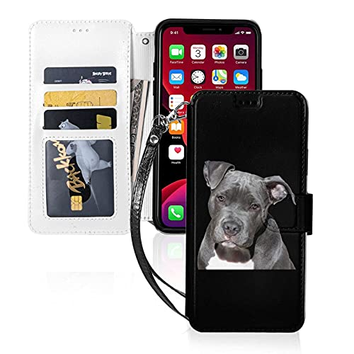Custodia per telefono LINGF,custodia Pit Bull per iPhone 11 Pro Custodia carina per donna Custodia in pelle a portafoglio con custodia protettiva per cinturino