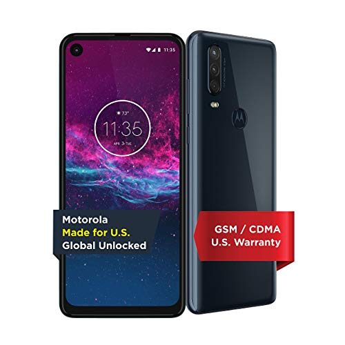 Unlocked Motorola One Action - 6.3 inches - 128GB - Denim Blue - PAGL0003US (Renewed)