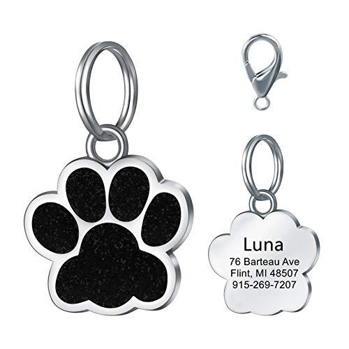 LAOKEAI Personalisiert Haustier ID Tag, Hundemarke mit Gravur aus Legierung, Adresse und Telefonnummer Prickelnde Haustier Marke für Hunde und Katzen(Schwarz)
