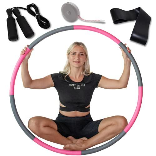 NIVEOLI Hula Reifen Fitness Reifen Hoop für Erwachsene & Kinder zur Gewichtsabnahme und formung, 1 kg 6-8 Segmente können getrennt und gefüllt Werden Fitness/Sport/Zuhaus/Bauchformung