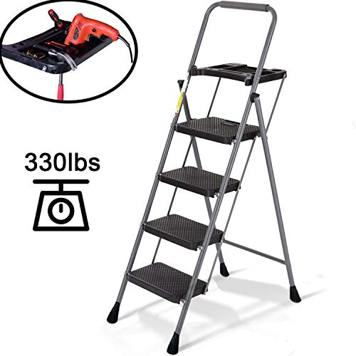 4 Step Ladder-Step Stool with Wide Step Folding Portable Lightweight for Adults Indoor/Outdoor with Tool Platform Tray Equipment with Anti-Slip Pedal, 330lbs Capacity