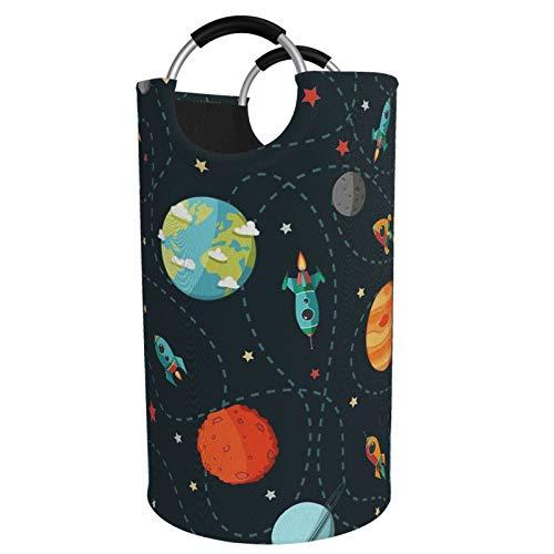 Planet Rocket - Cesta para la colada, impermeable, grande, organizador para ropa, juguetes, dormitorio, baño, con asas de aluminio