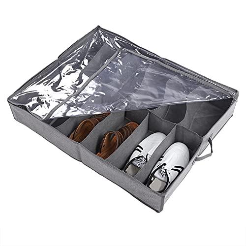 Gmkjh Caja de Almacenamiento de Zapatos, 12 Pares Debajo de la Cama Organizador de Zapatos Soporte Armario Ahorro de Espacio Cajas de Almacenamiento Divisor