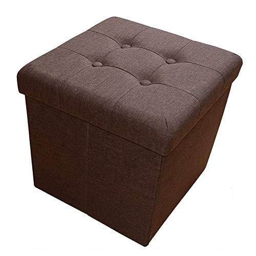 Style home Sitzhocker Sitzbank Sitzcube Aufbewahrungsbox mit Stauraum Faltbarer Fußhocker Sitzwürfel belastbar bis 300 kg, Leinen, 38 x 38 x 38 cm (Dunkelbraun)