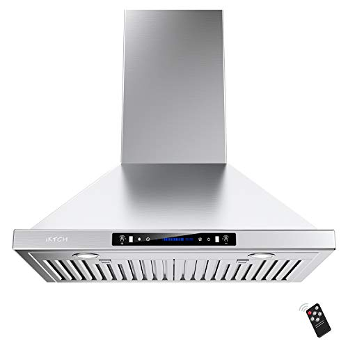 IKTCH 36-inch Wall Mount Range Hood 900 CFM Ducted/Ductless Convertible, Kitchen Chimney Vent Stainless Steel with Gesture Sensing & Touch Control Switch Panel, 2 Pcs Adjustable Lights