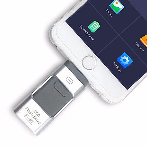 3-in-1 OTG Externer USB-Stick für iPhone 8 / 7 / 6 / 6S / 5 / iPad Samsung Handys silber 256 GB